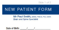 New Patient Form - Patients can download and complete the New Patient Form prior to their first appointment with Mr Paul Smith